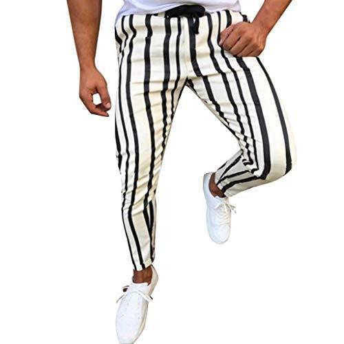 Pantalones Hombre Pantalón Casual Estampado Rayas Trabajo Largos Pantalones Pants Tallas Grandes con Bolsillos Laterales y Cinturón Ajustable Pantalones Sueltos riou