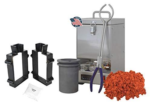 120 Oz QuikMelt Tabletop Furnace Sand Casting Set 5 Lbs Petrobond, Tongs, Crucible, Cast Iron Mold Flask Frame, Parting Powder, Flux Melt Precious Metals