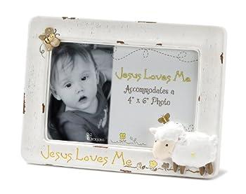 Dicksons Jesus Loves Me Photo Frame White/Lamb