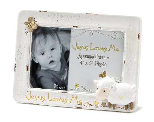 Dicksons Jesus Loves Me Photo Frame, White/Lamb by Dicksons