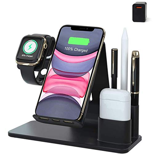 Xflelectronic Cargador inalámbrico 5 en 1, estación de Carga inalámbrica rápida Qi para AirPods/Pencil/Apple Watch 6/5/4/3/2/1 / iPhone 12/12 Pro / 12 Pro MAX / 11/11 Pro MAX/XR/XS MAX,Negro