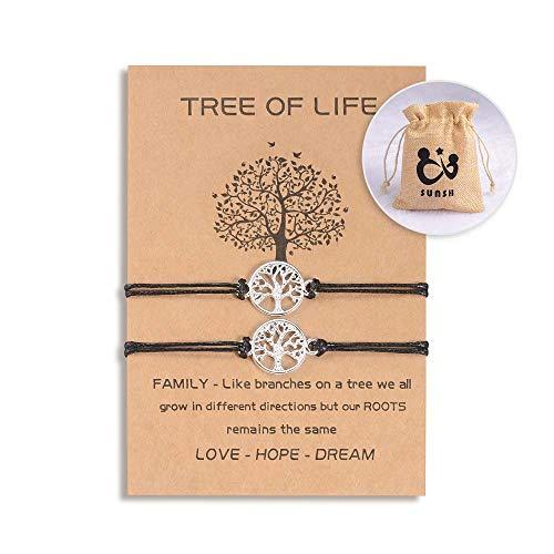 SUNSH 2 piezas de pulseras de árbol de la vida para parejas, mujeres, adolescentes, niñas, distancia ajustable, a juego, joyería de la amistad, pulsera de cadena, negro