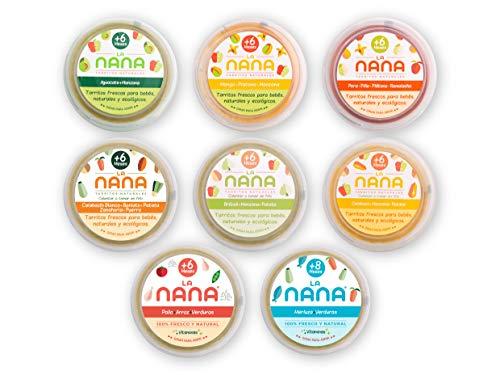 NANA - Pack Pruébame Total, tarritos ecologicos de fruta, verdura, pesacado y carne, contiene: 1 de cada, 185g