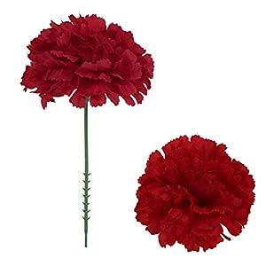 Larksilk Burgundy Silk Carnation Picks, Artificial Flowers for Weddings, Decorations, DIY Decor, 100 Count Bulk, 3.5″ Carnation Heads with 5″ Stems