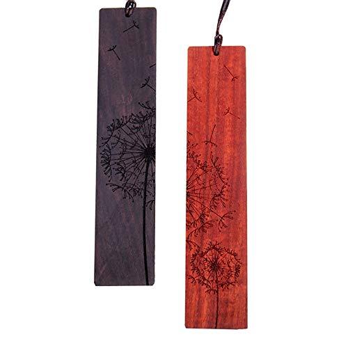 Dciustfhe Marcapáginas de madera natural hecha a mano, juego de regalo con patrón de diente de león, un regalo único para profesores, estudiantes, mujeres, VVter, MMnner