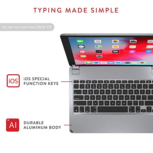 Brydge 12.9 Keyboard for iPad Pro 12.9 inch | ONLY 2017/2015 Models | Aluminum Bluetooth Wireless Keyboard with Backlit Keys | Long Battery Life | (Space Gray)