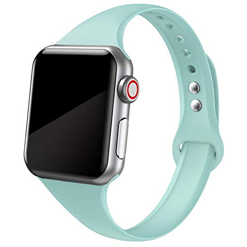 Bvcx Correa for Reloj de Apple Reloj Banda Manzana 5 4 3 2 Banda iWatch 42mm Correa 38 mm 44 mm 40 mm Silm Silicona pulseira Pulsera Correa de Reloj (Band Color : Amber Green 9)