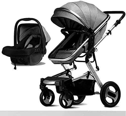 YQLWX Cochecito de bebé 2 en 1, carruaje de bebé portátil, cochecitos Plegables de Aguas Anti-Shock, Cochecito de visión Superior Ajustable, Sistema de Viaje Cochecito de Carro Infantil (Color: Gris)