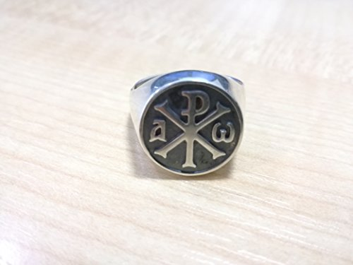 Chi-Rho Alpha and Omega ring - The Monogram of Christ | knights templar rings, knights templars ring, custom knights templar ring | Sterling Silver 925, Yellow, White, Rose Gold | Handmade | All sizes