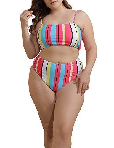 Allegrace Two Piece Women Plus Size Swimsuit Spaghetti Straps Modest Bikini Swimsuits BK05 Rainbow Stripe 4X