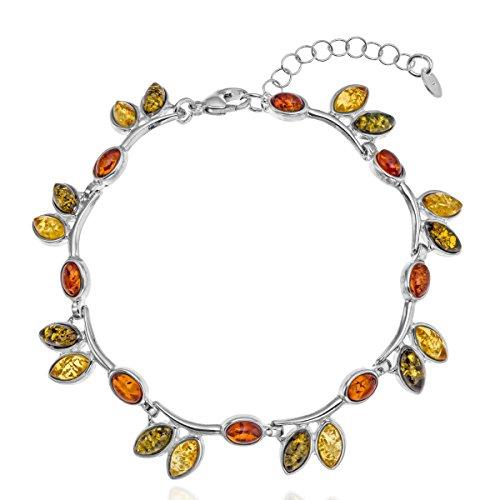 Copal - Pulsera de ámbar para mujer, plata de ley 925, multicolor, longitud ajustable, caja de regalo