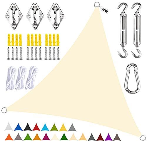 YGWQ Vela de Sombra, Triangular Toldo Vela Impermeable Protección Rayos UV Quitasol Parasol para Jardín Patio Terraza Balcón Exteriores-Cream Color  2x2x2m