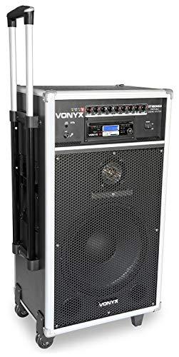Vonyx ST180 Mobiele Speaker op Accu met 2 Draadloze Microfoons, Bluetooth, USB en SD aansluiting, CD speler en Afstandsbediening