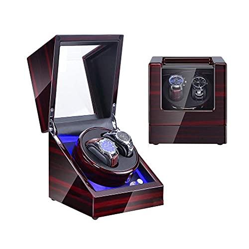 Caja enrolladora automática para relojes 1 pieza enrolladora doble para relojes automáticos, con luz LED azul, exterior de pintura de piano de carcasa de madera, enrollador de reloj con motor japonés
