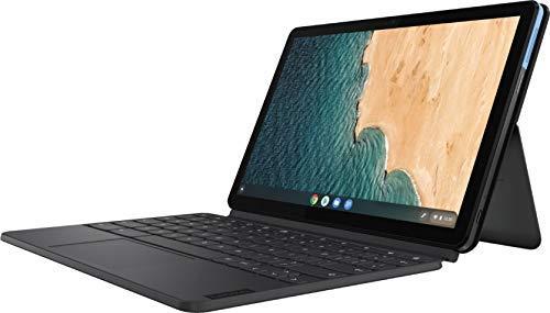 "Newest Lenovo Chromebook Duet 2-in-1 10.1"" FHD Touchscreen IPS Tablet Computer, MediaTek Helio P60T Processor, 4GB RAM, 128GB SSD, Webcam, WiFi, Bluetooth, Chrome OS, Keyboard, 32GB ABYS MicroSD Card"