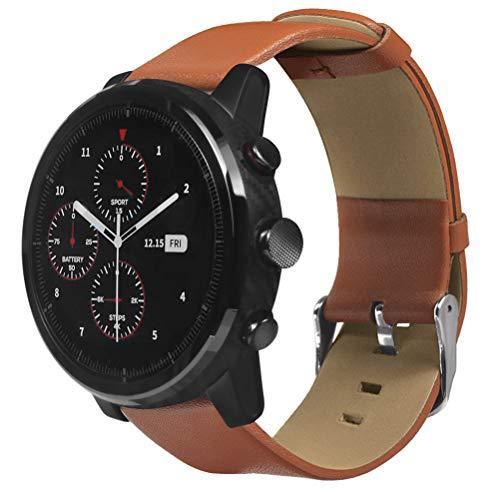 Saisiyiky Correa De Reloj De Cuero Compatible Con 22MM Smartwatch ,22mm Liberación Rápida Pulsera De Repuesto Pebble Time