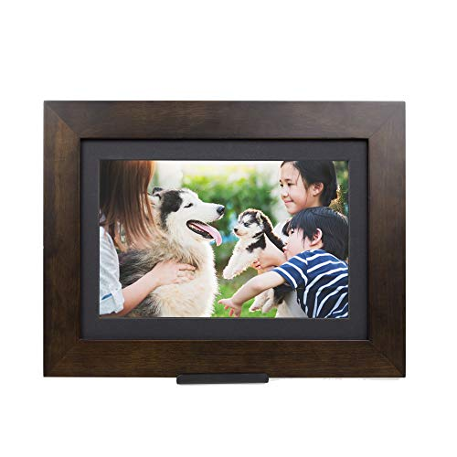 PhotoShare Friends and Family Smart Frame Digital Photo Frame, Send Pics from Phone to Frame, WiFi, 8 GB, Holds Over 5,000 Photos, HD, 1080P, iOS, Android (10.1', Espresso)