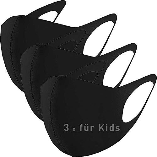 GC-TECH 3 x modische Kindermaske Mundbedeckung mit Elasthan f. d. perfekten Sitz waschbare Maske f. Kinder (3X Kids schwarz)