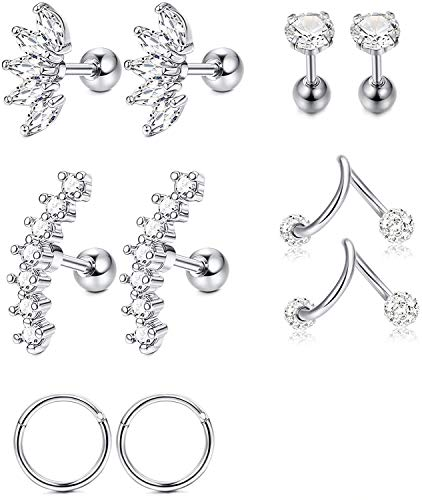 Milacolato 5 Pairs Stainless Steel Silver Ear Cartilage Earrings for Women Girls Tragus Helix Earring Cute Conch Flat Back Piercing Jewelry