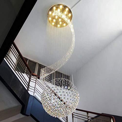 Araña de luces decorativa Dúplex Escalera Lámparas largo Lámparas de cristal Lámparas Fashion Hotel Villa luces proyectan Vestíbulo luces colgantes (Tamaño: 60 * 200 cm), color: 60 * 200cm Para uso en