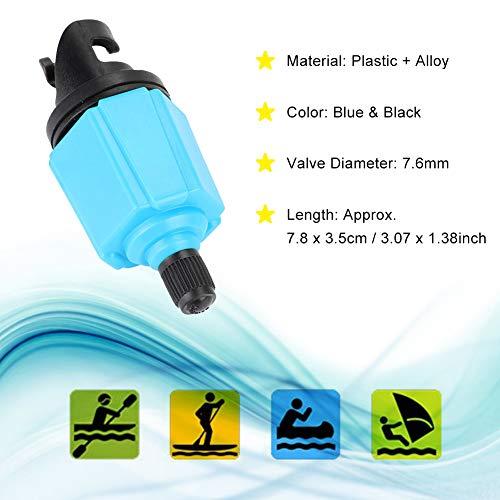 Sup Adapter,7.6mm Aufblasbare Bootspumpe Ventil Adapter,SUP Kompressor Adpater Set,Kunststoff + Legierung Air Valve Paddle Board Bootszubehör,für Verschiedene kanu, kajak, usw.