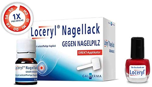 Loceryl Nagellack gegen Nagelpilz 3 ml Direktapplikator + gratis Nagellack rot