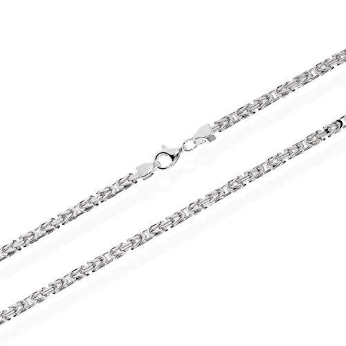 NKlaus Königskette 3,1mm Silberkette 925 Sterlingsilber vierkant massive Herrenkette 70cm 3447