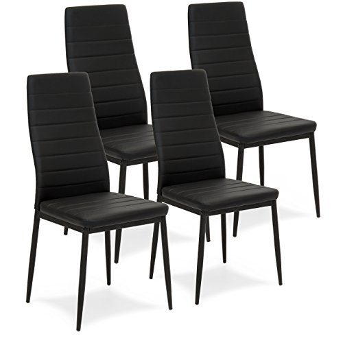 Best Choice Products Set of 4 Modern High Back Faux Leather Dining Chairs w/Metal Frame, Black