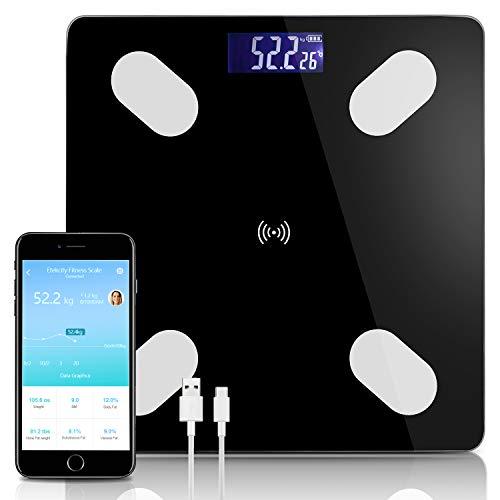 wolketon Körperfettwaage, Bluetooth Körperanalysewaage mit App, Digital Personenwaagen, Smart Waage für Körperfett, BMI, Gewicht, Muskelmasse, Wasser, Protein, Skelettmuskel, Knochengewicht, BMR