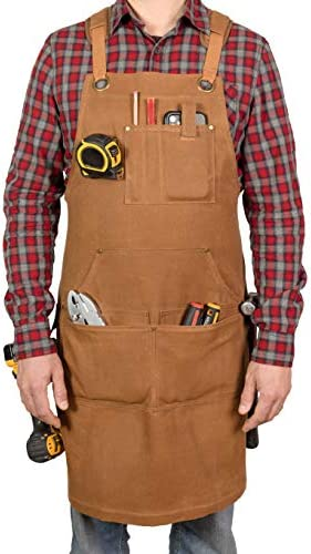 PD Canvas Woodworking Tool Apron with Shoulder Pads Brown Cross Back 9 Tool Pockets Shop Apron product image