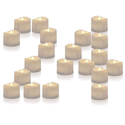 Homemory 24 led flammenlose kerzen, 3.8cm elektrische flackernde batteriebetriebene teelichter, led votivkerzen warme weiße (MEHRWEG)