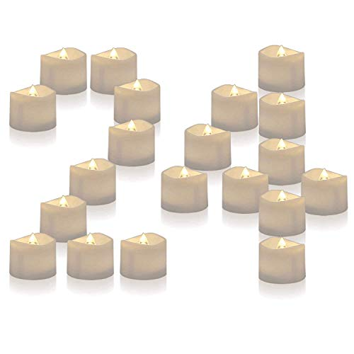 Homemory Battery Operated LED Tea Lights, Pack of 24, Flameless Votive Tealights with Warm White Flickering Bulb Light, Small Electric Fake Tea Candle Realistic for Wedding, Table, Gift, Outdoor