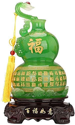 Equipo diario Oficina Casa Mesa Feng Shui Decoración China Feng Shui Estatua Fengshui Figuras Adornos Figuras Decoración Resina Artesanía Decoración Ruyi Calabaza Decoración del hogar Decoración Fe