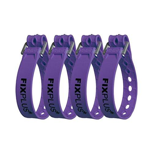 Fixplus-Strap 4er-Pack - Zurrgurt zum Sichern, Befestigen, Bündeln und Festzurren, aus Spezialkunststoff mit Aluminiumschnalle 35cm x 2,4cm (violett)