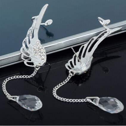 PPuujia Pendientes chapados en plata 2021 con diseño de alas de ángel y cristales colgantes para mujer, pendientes de puño largo, joyería bohemia (color de metal: agujero de oreja)