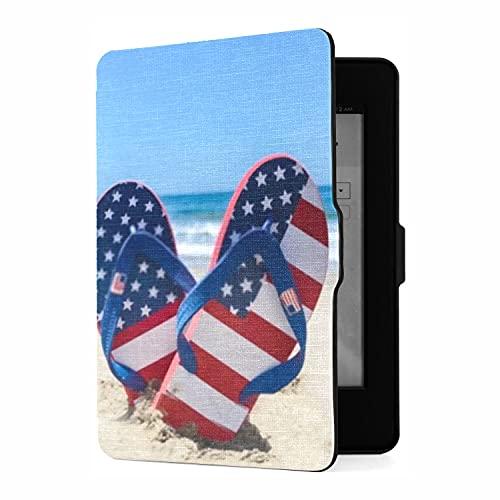 Funda para Kindle Paperwhite 1 2 3, Chanclas patrióticas de EE. UU. con Decoraciones, Funda de Piel sintética con Smart Auto Wake Sleep para Amazon Kindle Paperwhite (se Adapta a Las Versiones 2012,