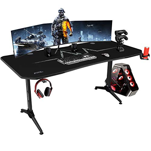 KaiMeng Gaming Desk 63'L x 30'W Racing Style Gamer Computer Desk Free Full Mouse Pad Modern Carbon Fiber Surface Ergonomic, T-Shaped Y Leg Office Room Game Table Workstation, with Handle Rack (Black)