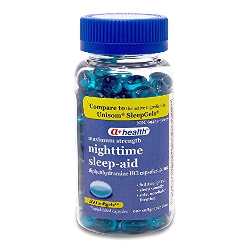 A+Health Nighttime Sleep Aid Diphenhydramine 50 mg Softgels Maximum...