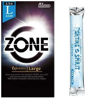 ジェクス(JEX) ZONE (ゾーン) コンドーム Largeサイズ(ラージ) 6個入 + ファイティングスピリット ローション 12mLセット