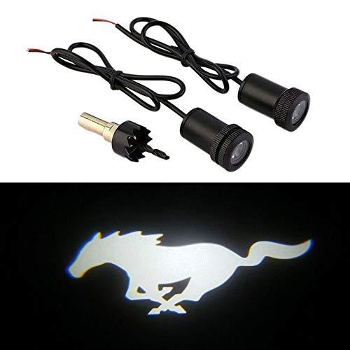 UNDKI Luces Laterales para Coche Cortesía 2PCS Blanca Mustang Pony LED Lámparas Sombra del Fantasma de Luces de Puerta proyectores compatibles con Ford Mustang Lámpara para Puerta de Coche