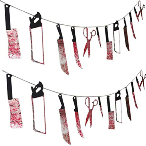 Healifty 2pcs Halloween Bloody Banner Knife Banner Weapon Banner Weapon Garland Hanging Decor Haunted House Props for Halloween Party Decoration Deliveries
