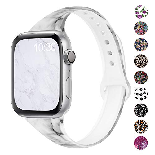 Qrose Bands Compatible with Apple Watch 38mm 40mm 42mm 44mm, Slim Thin Narrow Replacement Silicone Pattern Printed Sport Strap Wristband for iWatch Series 1/2/3/4/5 Women Men