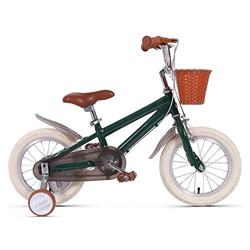 Bicicleta para niños Caixia 12'14' 16'18' para niñas, niños 3 a 9 años, Ruedas Entrenamiento, Frenos Mano, Asiento Ajustable(Size:14inch,Color:Verde)