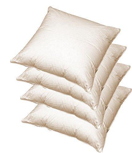 Kissenfüllung 45x45 cm Baumwolle mit 100% echter natürlicher Federfüllung, 4er Pack