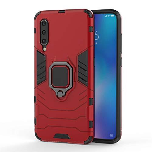 Xiaomi Mi 9 Funda, MHHQ 2in1 Armadura Combinación A Prueba de Choques Escudo Cáscara Dura PC + TPU con Soporte Magnetic Car Mount Case Cover para Xiaomi Mi 9 -Red