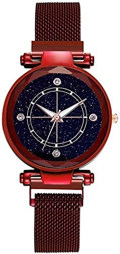 JZDH Reloj de Pulsera, Relojes Decorativos de Moda de Las señoras en 7 Colores. Reloj de Estrella Redonda de 40 mm de dial. Material de aleación