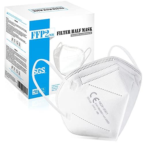 GDNQX 20 Stück FFP2 Maske Weiß, 5-lagige Atmungsaktiv Atemschutzmaske Gesichtsmasken, 94% Partikelfiltermaske, FFP2 Mundschutzmaske für Drinnen Draussen