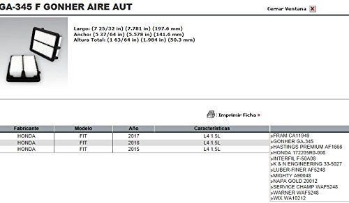 FILTRO AIRE HONDA FIT 1.5 GA-345 GONHER