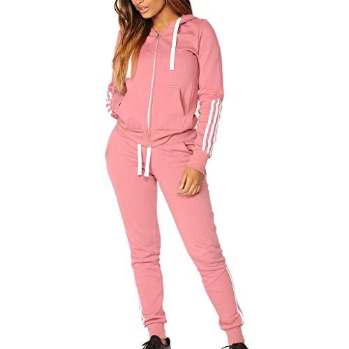 Millenniums Costume Sportif Survêtement Rayé avec Poche Sweat-Shirt à Capuche + Pantalon Ensemble 2PCS Sport Sportswear pour Yoga et Gymnastique Jogging Suit À Manches Longues S-XL (Rose, M,36)