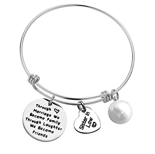 For Sister in Law Bracelet Through Marriage We Became Family Through Laughter We Became Friends Bangle Bracelet Gift Birthday Christmas Wedding Gifts for Sister in Law
